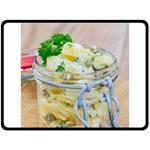 Potato salad in a jar on wooden Double Sided Fleece Blanket (Large)