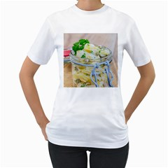 Potato Salad In A Jar On Wooden Women s T Shirt (white)  by wsfcow