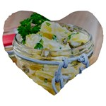 Potato salad in a jar on wooden Large 19  Premium Flano Heart Shape Cushions