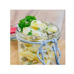 Potato Salad In A Jar On Wooden Small Satin Scarf (square) by wsfcow