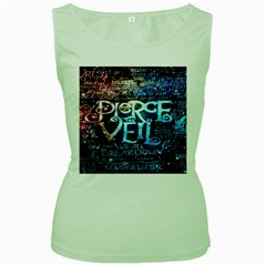 Pierce The Veil Quote Galaxy Nebula Women s Green Tank Top by Onesevenart
