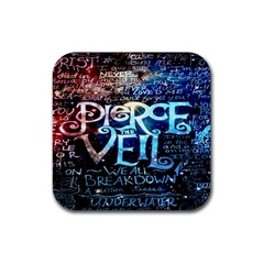 Pierce The Veil Quote Galaxy Nebula Rubber Square Coaster (4 Pack)  by Onesevenart