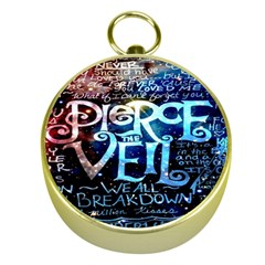 Pierce The Veil Quote Galaxy Nebula Gold Compasses by Onesevenart