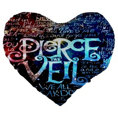 Pierce The Veil Quote Galaxy Nebula Large 19  Premium Flano Heart Shape Cushions by Onesevenart