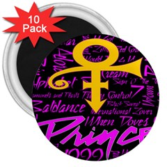 Prince Poster 3  Magnets (10 Pack)  by Onesevenart