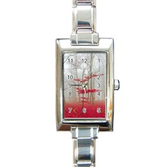 Magic Forest In Red And White Rectangle Italian Charm Watch by wsfcow