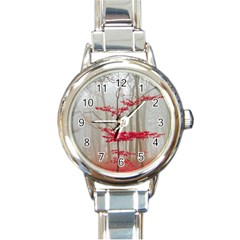 Magic Forest In Red And White Round Italian Charm Watch by wsfcow