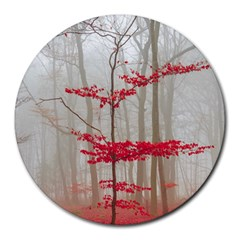 Magic Forest In Red And White Round Mousepads by wsfcow