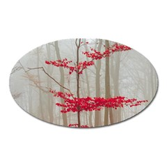 Magic Forest In Red And White Oval Magnet by wsfcow