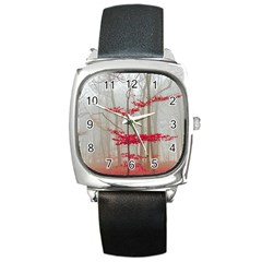 Magic Forest In Red And White Square Metal Watch by wsfcow