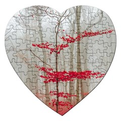 Magic Forest In Red And White Jigsaw Puzzle (heart) by wsfcow