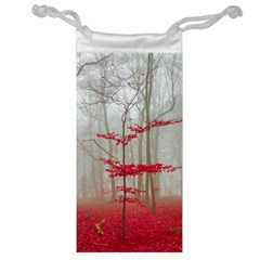 Magic Forest In Red And White Jewelry Bags by wsfcow