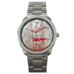 Magic Forest In Red And White Sport Metal Watch by wsfcow