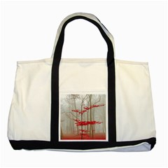 Magic Forest In Red And White Two Tone Tote Bag by wsfcow