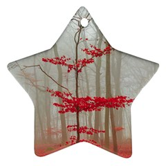 Magic Forest In Red And White Star Ornament (two Sides)  by wsfcow