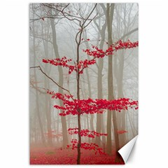 Magic Forest In Red And White Canvas 24  X 36  by wsfcow
