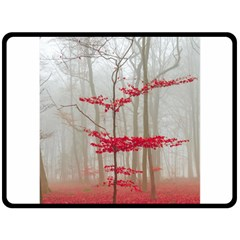 Magic Forest In Red And White Fleece Blanket (large)  by wsfcow