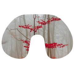Magic Forest In Red And White Travel Neck Pillows by wsfcow