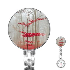 Magic Forest In Red And White Stainless Steel Nurses Watch by wsfcow