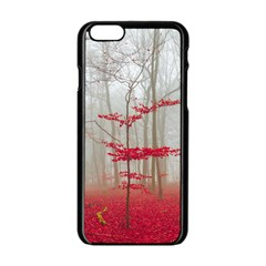 Magic Forest In Red And White Apple Iphone 6/6s Black Enamel Case by wsfcow