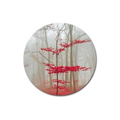 Magic Forest In Red And White Magnet 3  (round) by wsfcow