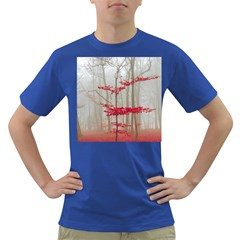 Magic Forest In Red And White Dark T Shirt by wsfcow