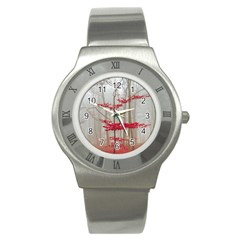 Magic Forest In Red And White Stainless Steel Watch by wsfcow