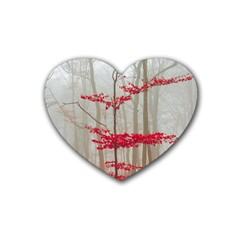 Magic Forest In Red And White Rubber Coaster (heart)  by wsfcow