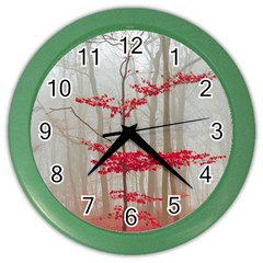 Magic Forest In Red And White Color Wall Clocks by wsfcow