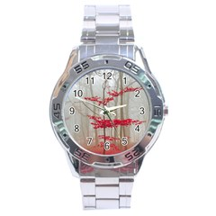 Magic Forest In Red And White Stainless Steel Analogue Watch by wsfcow