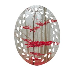 Magic Forest In Red And White Oval Filigree Ornament (2 Side)  by wsfcow