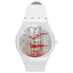 Magic Forest In Red And White Round Plastic Sport Watch (m) by wsfcow