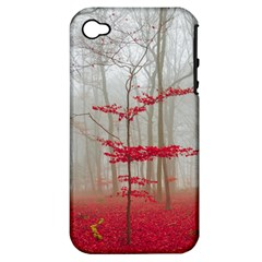 Magic Forest In Red And White Apple Iphone 4/4s Hardshell Case (pc+silicone) by wsfcow