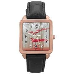 Magic Forest In Red And White Rose Gold Leather Watch  by wsfcow