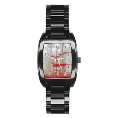 Magic Forest In Red And White Stainless Steel Barrel Watch by wsfcow