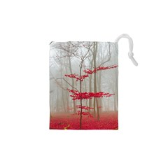 Magic Forest In Red And White Drawstring Pouches (xs)  by wsfcow