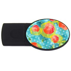 Red Cherries Usb Flash Drive Oval (2 Gb)  by DanaeStudio