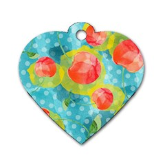 Red Cherries Dog Tag Heart (two Sides) by DanaeStudio