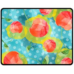 Red Cherries Fleece Blanket (medium)  by DanaeStudio