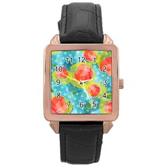 Red Cherries Rose Gold Leather Watch  by DanaeStudio