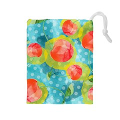 Red Cherries Drawstring Pouches (large)  by DanaeStudio