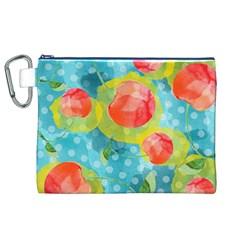 Red Cherries Canvas Cosmetic Bag (xl) by DanaeStudio