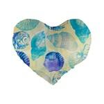 Seashells Standard 16  Premium Flano Heart Shape Cushions