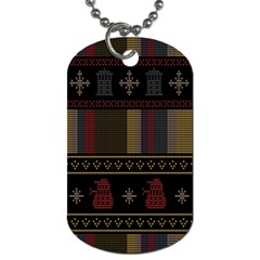 Tardis Doctor Who Ugly Holiday Dog Tag (one Side) by Onesevenart