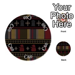 Tardis Doctor Who Ugly Holiday Playing Cards 54 (round)  by Onesevenart