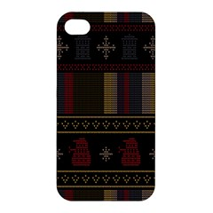 Tardis Doctor Who Ugly Holiday Apple Iphone 4/4s Premium Hardshell Case by Onesevenart