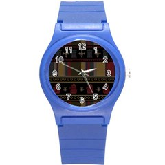 Tardis Doctor Who Ugly Holiday Round Plastic Sport Watch (s) by Onesevenart
