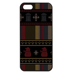 Tardis Doctor Who Ugly Holiday Apple Iphone 5 Seamless Case (black) by Onesevenart