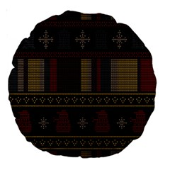 Tardis Doctor Who Ugly Holiday Large 18  Premium Round Cushions by Onesevenart