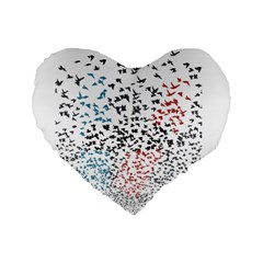 Twenty One Pilots Birds Standard 16  Premium Flano Heart Shape Cushions by Onesevenart